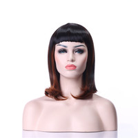 Wholesale Double Cosplay Wig - 2016 New Arrrival Double Colors Middle Long Straight Synthetic Hair Wigs Full Daily wigs Fashion Cosplay Wig Party Wig