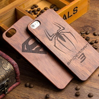 Wholesale Apple Batman - For Samsung Galaxy S8 S7 edge S5 Wood Case Retro Wooden Bamboo Phone Cover Hybrid Shockproof Batman Cases For iphone 7 6 plus
