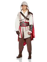 Wholesale Cosplay Ezio White - Malidaike Men's Assassin's Creed 3 Costume Cosplay 8 Piece Ezio Deluxe Halloween Leather Coat