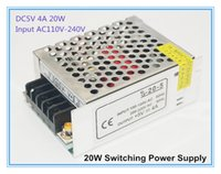 Wholesale Mini Led Driver - Mini 20W 5V Output LED Driver Power Supply DC5V 4A Aluminum Shell Lighting Transformer AC110V 220V Input Single Output