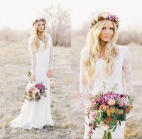 Wholesale Romantic Country Style - 2017 Romantic New Summer Boho Lace Cheap Mermaid Wedding Dresses Long Sleeves Appliques Sweetheart Garden Country Style Long Bridal Gowns