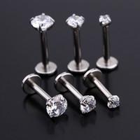 Wholesale Red Lip Studs - 2016 fashion Crystal Stainless Steel Lip Piercing Labret Rings Shape Ear Stud earrings Piercing Tragus Body Jewelry Unisex