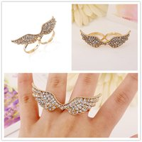 Wholesale Double Finger Rings Free Shipping - Fashion double wings opening rings Adjustable Double Finger Rings 2 colors Sterling rings Wholesale free shipping