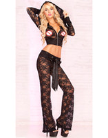 Wholesale Sexy Adult Pants - Adult Lingerie Sexy Underwear For Women Black Lace Jacket With Lounge Pants Crop Top Long Sleeves Set CB9415