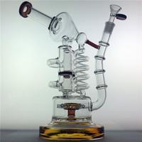 "Wholesale Huge Bowl - Huge Recycler Glass Bong oil rig 14"" bongs birdcage Big water pipes bubbler Mobius Matrix sidecar beaker heady Mother quartz banger bowl"