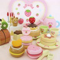 Wholesale Mother Garden Cake Set - Mother Garden Strawberry Heart Box Birthday Cake Wooden Toys Food Set Baby Educational Kitchen Toys Birthday Gift