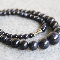 Wholesale 15inch Necklace - New 4-14mm Blue SandStone Sand Beads Necklace Women Girls Gifts Stone Beads Round 15inch Fashion Jewelry Making Design Wholesale