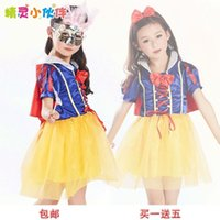 Wholesale Sleeve Wand - Snow White Princess Dress Costume Dresses Flower Girl Dress Size 100-160 Wand + Capes+Hair Crown+Mask+Bow Girl Cosplay Dress