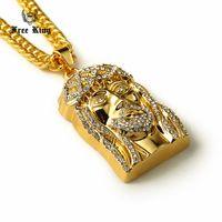 золотое лицо иисуса оптовых-Коренастый новый оттаявшим золото Иисус лицо кусок очарование кулон ожерелье 35,4