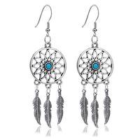 Wholesale feather ears - Hot Sale New Dream Catcher Ear Drop Feathers Dangle Earrings Women Charming Jewelry Gifts free shipping
