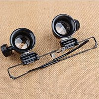 Wholesale Light Magnifying - 20X Watch Repair Dental Loupes Binocular Glasses Magnifying Glass With LED Lights Eyewear Magnifiers with Box packing F586