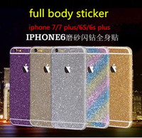 Wholesale Iphone Glitter Sticker Skins - 2016 Luxury Colorful Full Body Sticker Bling Skin Cover Glitter Diamond Front Sides Back Screen Protector For iphone 7 6 6S plus 5S