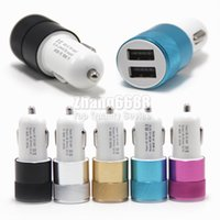 Wholesale Wholesale Free Shipping Uk - For iP7 Chargers 2 Port Car Charger Android Car Adapter For Smartphone Universal Chargers Free Shipping