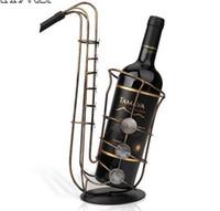 Wholesale metal craft wine - Metal Sax Wine Rack Beautiful Crafts Artwork Gift Wine Holder Figurines Creative Wine Bottle Stand Practical Decoration