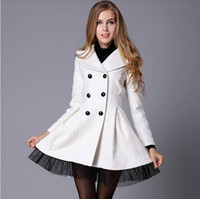 Wholesale Big Buttoned Trench Coat - Woman Trench Overcoat Winter Clothes Nice European Slim Big Swing Wool Trench Coat Double Breasted Plus Size XXL Winter Coats for Women