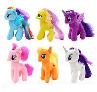 Wholesale Plush Mlp - Super Cute! !18cm Cartoon Kids TV Rainbow MLP Animal Little Horse Stuffed Doll Plush Toys Kids Birthday Gifts