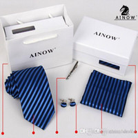 Wholesale Men s Tie Pocket towel Cufflink Neck Tie Tie clips Gift bag box colors for Father s Day Men s business tie Christmas Gif