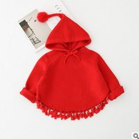 Wholesale Knitted Coat For Baby Girl - Christmas coat for kids red knitting pompon hooded cape girls long sleeve tassel lace poncho autumn winter baby warm princess outwear R025