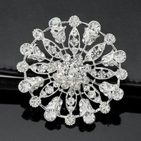 Vintage Stylish Rhodium Tone Clear Crystal Big Alloy Flor Casamento Mulheres Brooch Quente Luxo Lady Bouquet Pins Cheap Wholesale