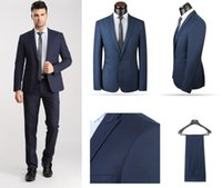 Wholesale Navy Pant Suit - Ternos Navy Blue Men's Suits (Coat+Pants) SU262 Customize Mens Prom Suits 2 Pcs Traje De Hombre Double Vents China Tailored Made 2016