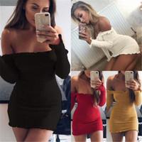 mini vestido ajustado al por mayor-Nueva moda Vestidos de otoño Sexy Ladies Off Shoulder Short Mini Jumper Vestido Casual Party Fit Vestidos ajustados para mujer Vestido de vendaje apretado