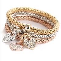 Wholesale Corn Europe - Europe and America geometric diamond bracelet alloy jewelry sets three-color stretch corn chain diamond pendant bracelet European and Americ