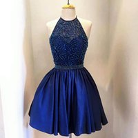 Abiti da sera femminili di promenade da sera femminili 2018 Halter collo ricamato Royal Blue abiti da sposa speciale foto sexy Real Homecoming Dress