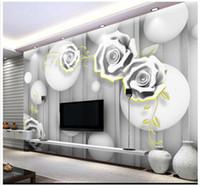 zimmerdekoration rosen großhandel-3D Fototapete benutzerdefinierte Wandbilder Tapete Wandbild 3D Stereo geschnitzt Rosen TV Hintergrund Wand Papier Wohnzimmer Tapete Dekoration