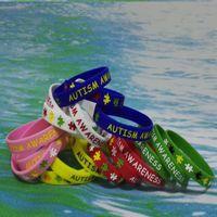 pulseiras de autismo venda por atacado-100 PCS de Alta Qualidade AUTISMO Debossed E Tinta Cheia de Estoque de borracha pulseiras de silicone pulseiras para brindes promocionais SS001