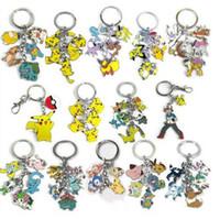 Wholesale Tins Wholesale Cars - 2016 Hot sales Anime Poke Keychain Cartoon Pikachu Poke Ball Keychain Alloy Pendant Key Chain Hot Poke Anime Collection Kids Gifts