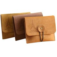 Wholesale Vintage Style European Tower - Women's Men's Vintage Eiffel Tower Coin Purse Small Fold Key Pouch Wallet Bag Favors gifts Retail or Wholesale