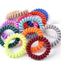 Wholesale Hair Elastic Phone - Fabric Telephone Wire Hair Band Wrapped Cloth Design Ponytail Holder Elastic Phone Cord Line Hair Tie Hair Accessories
