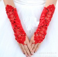 Wholesale Blue Fingerless Bridal Gloves - free shipping bride marriage yarn dress gloves No means satin 15 colors