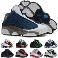 Wholesale Cheapest Kids Winter Shoes - (With shoes Box) wholesale Cheap Retro 13 Basketball Shoes Men High Cut High Quality flint grey french blue Sports Kids Shoes
