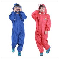 Wholesale Long Winter Coats For Boys - Kids Cartoon One Piece Hoodie Rainsuit Boys Girls hooded Raincoat Jumpsuit Children Solid-colored one piece rainsuit Kids RainCoat for 2-14T