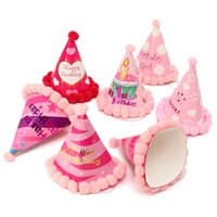 Wholesale Kids Birthday Party Dresses Boy - Beautiful Design Paper Party Cone Hats With Plush Ball Dress Up Girls Boys Favour Supplies For Kids Child Birthday Multi-style