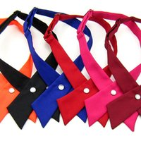 Wholesale crossover tie - New Fashion Crossover bowties 8 colors Solid Color Cross bow tie for boy girl neck ties Christmas Gift A0264