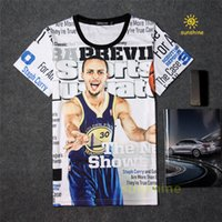Wholesale Made Men T Shirt - 2016 summer new arrival 3D print famous basketball star Curry tshirt five sizes cotton made casual T-shirt unisex sweatshirt free shipping