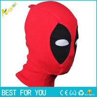 mascara hombre cuero completo al por mayor-Máscaras Deadpool de cuero de la PU Superhéroe Balaclava Cosplay de Halloween X-men Sombreros Sombrero Sombrero de fiesta Fiesta Cuello capucha Máscara de cara completa