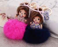 Wholesale Doll Key Chain Charm - Cute Cartoon Monchichi Keychain girl monchichi keyring crystal Rhinestone Doll Fur pom pom key chain Women Bag Charm Accessories
