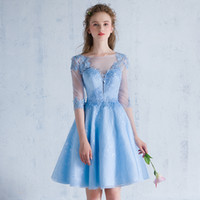 Wholesale Tulle Cocktail Dresses Transparent - Elegant Full Lace Sky Blue Scoop Neck Tulle Transparent back And Sleeves Appliques Beaded Knee Length Short Bridemaid Dress Onepiece