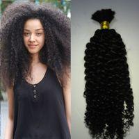 Wholesale 26 afro kinky human braiding hair resale online - Natural Mongolian Afro Kinky Bulk Hair g Kinky Afro Hair Bulk Human Hair For Braiding Bulk No Attachment Kinky Curly