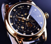 Gagnant <b>Diamond Skeleton</b> Design Black Golden Skeleton Watch Hommes Montre automatique Horloge Erkek Saat Homme Horloge Homme Orologio Uomo