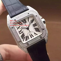 Wholesale Top Brand Divers Watches - Luxury Top Quality Watch Swiss ETA 2836 Automatic Movement Full Diamond Stainless Steel Brand 100 Leather Strap Mens Watch Watches