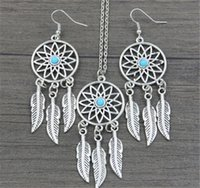 Wholesale turquoise jewelry for wedding - Dream Catcher Earrings & Necklace Jewelry Sets For Women Statement Necklace Jewelry Bohemia Dreamcatcher Feather Luck Necklace Lover Gift A1