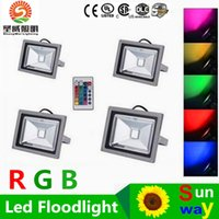 Wholesale Rgb Led Flood Lights Outdoor - 10W 20W 30W 50W Led RGB Floodlights Warm Natrual Cold White Red Green Blue Yellow Outdoor Led Flood Garden Light Waterproof + Remote Control