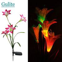outdoor led lights change color toptan satış-Toptan-Pembe Güneş LED Zambak Çiçek Işık Renk Değiştirme Enerji Tasarruflu Lambalar Açık Bahçe Yolu Yard Dekorasyon 3 LED Çiçek Parti Lambası
