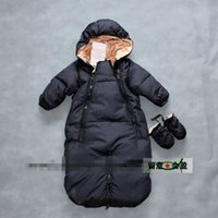 Wholesale Baby Sleeping Bag Down - The new baby down jacket Pure color long sleeve sleeping bag thickening white duck warm down outdoor clothing