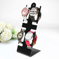 Wholesale Clear Plastic Bracelets - Wholesale-New Clear Black Plastic Watch Bracelet Jewelry Display Stand 4-Holder Rack General Showcase Shelf Portable