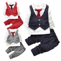 Wholesale Boys Cotton Shirt Wedding - PrettyBaby Baby Boy Bodysuit Outfit Spring Kids Clothes Plaid Vest Shirt Striped Pants Bow Tie 2pcs boys plaid outfit Birthday Wedding Party